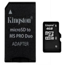Memoria Micro SD HC 4GB + Adaptador MS Duo Kingston