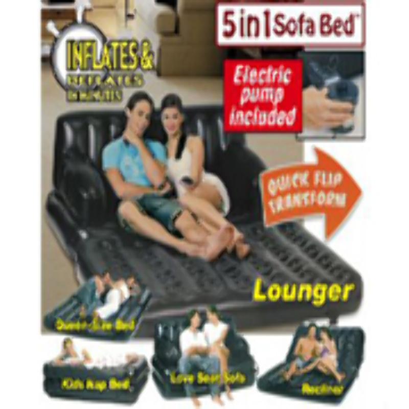Sofá Cama Inflable 5 en 1 Negro con Bomba Doble Acción Queen 160