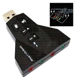 Tarjeta Sonido USB 2.0/7.1 2 Entradas y Salidas