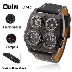 Reloj de Piloto OULM 1140 Doble movimiento brujula termometro
