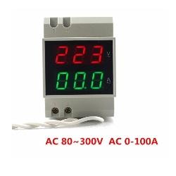 Voltimetro + Amperimetro D52-2042 para Riel Din 80-300V
