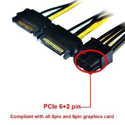 Cable Adaptador Dual Sata a PCIe 6+2