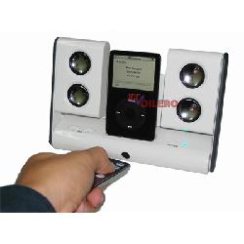 Parlantes para iPod con control remoto y cargador