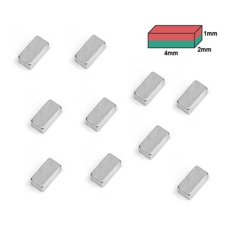 Set 10 Imanes Neodimio 4x2x1mm NdfeB
