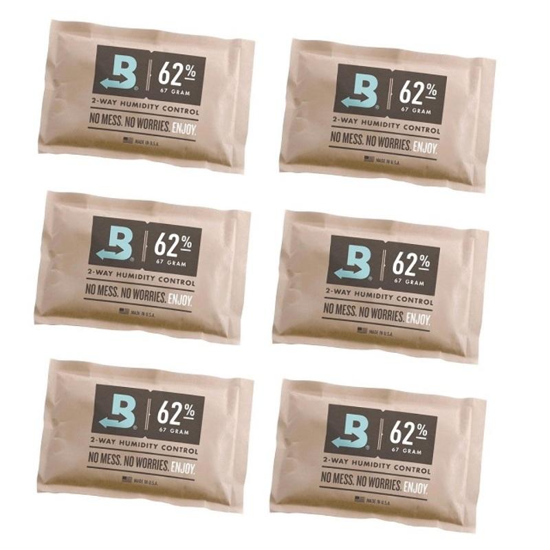 6 Sobres Boveda Pack 62% 67gr Control Humedad Cannabis